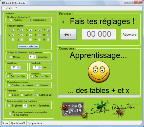 Calcul for Methode apprentissage table de multiplication