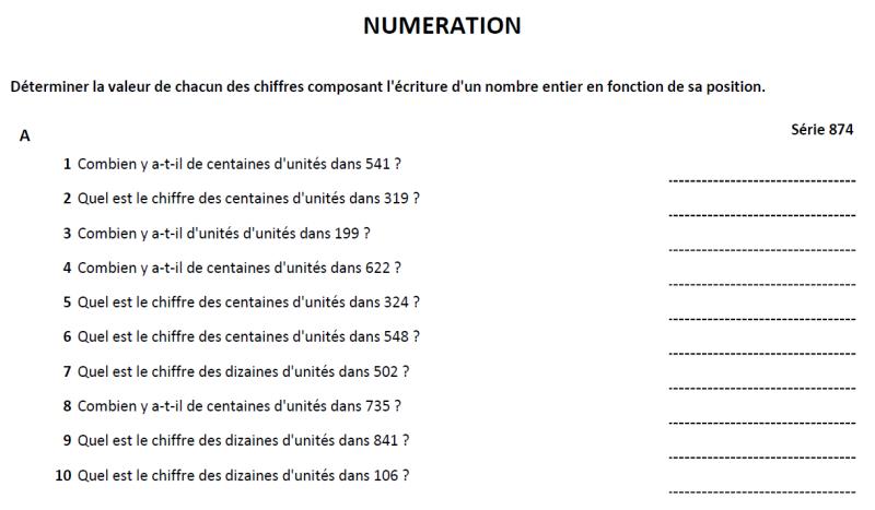 numérations sur les paquet de 5 ou 10